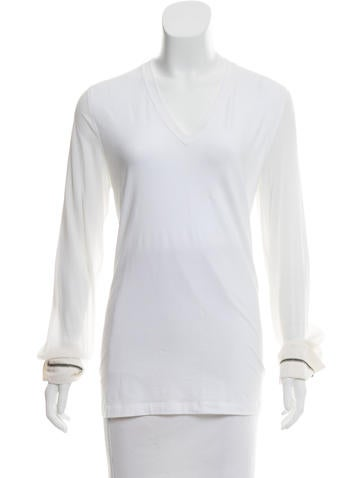 Brunello Cucinelli Monili-Trimmed Long Sleeve Top None
