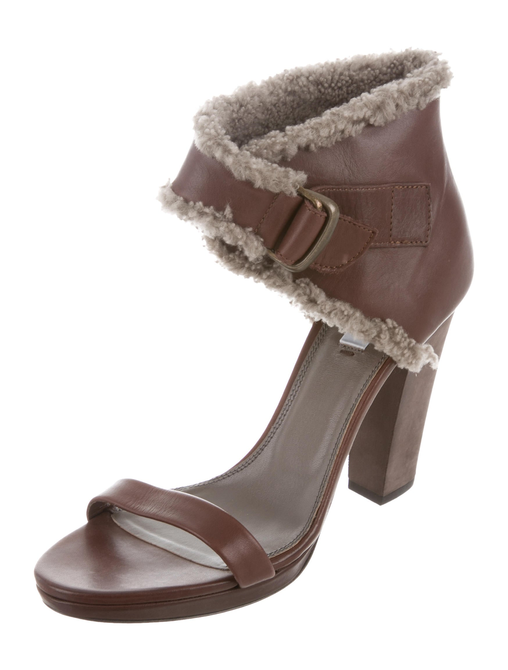 free shipping amazon Brunello Cucinelli Shearling-Trimmed Ankle Strap Sandals w/ Tags 2014 newest sale online cheap finishline cheap sale best seller clearance under $60 ZZoc2