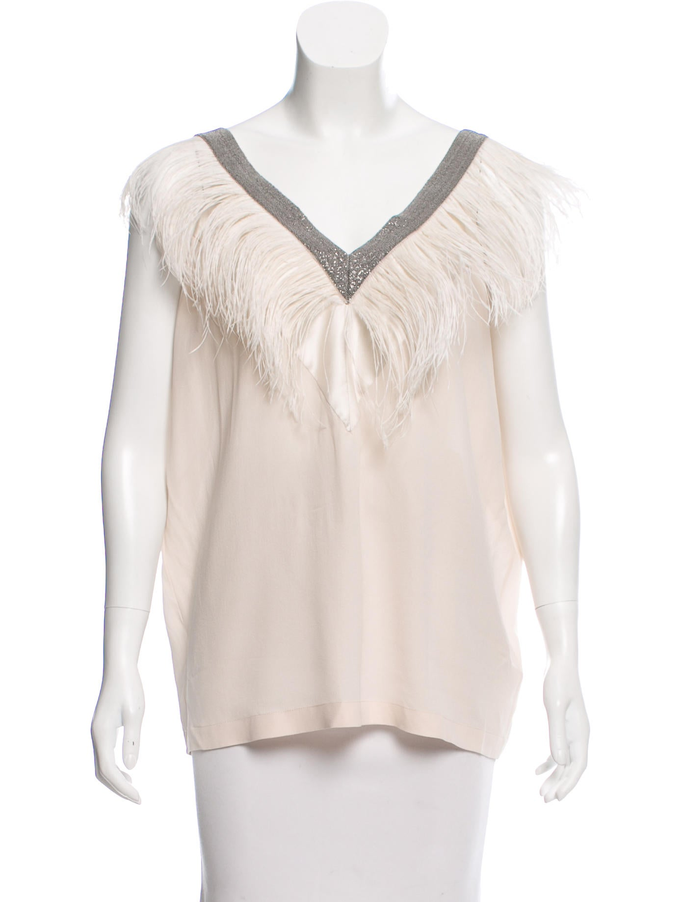 737550bfc31 Brunello Cucinelli Feather-Accented Sleeveless Top w  Tags ...