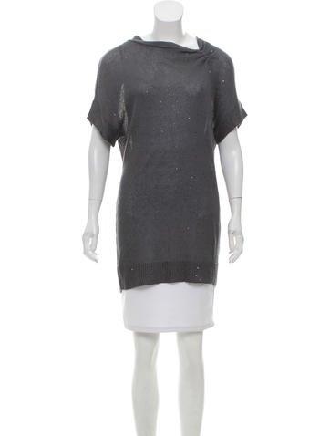 Brunello Cucinelli Short Sleeve Embellished Knit Top None