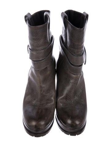 Leather Wedge Booties