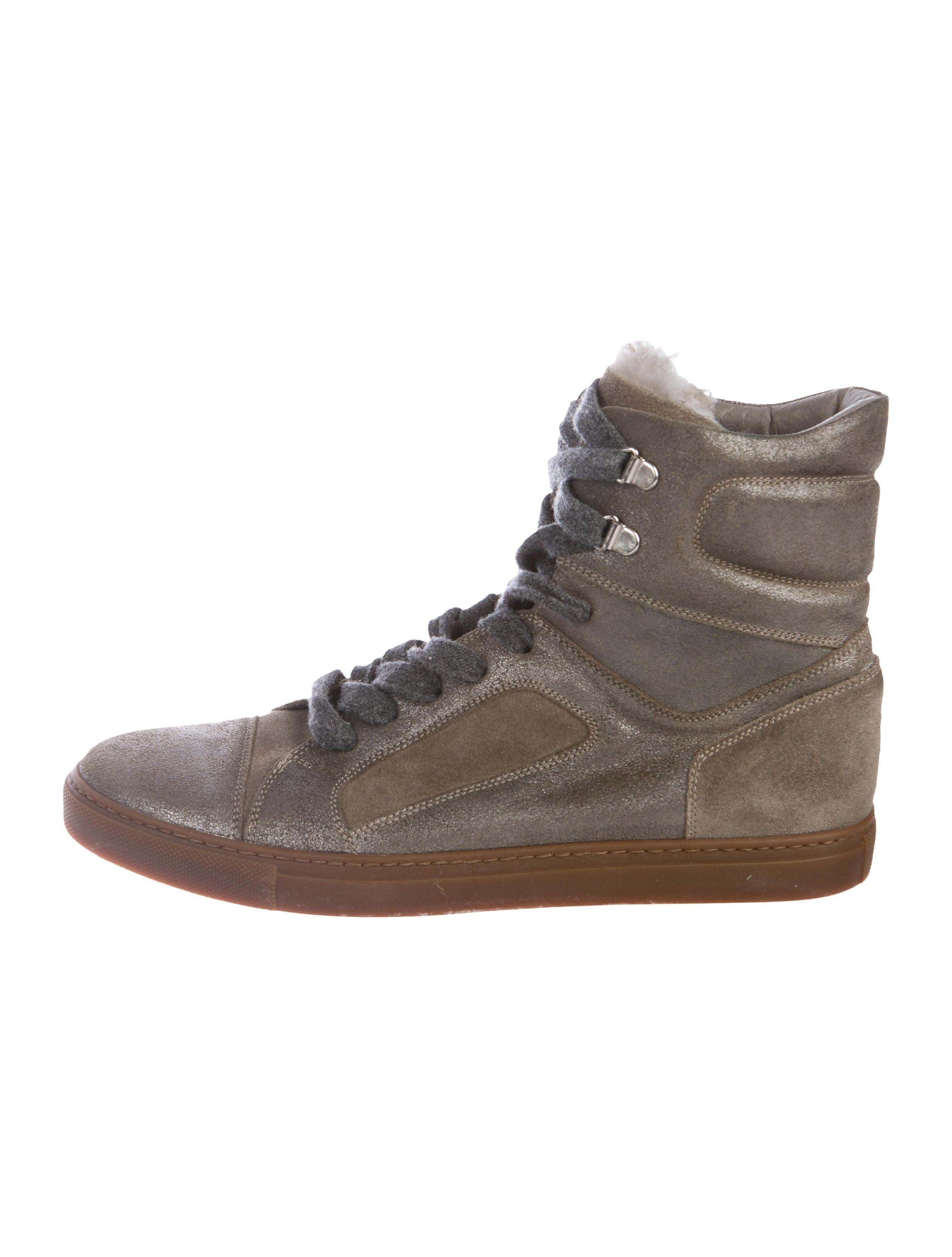 hot sale cheap online Brunello Cucinelli Shearling-Trimmed Metallic Sneakers cheap sale best sale tumblr cheap online HKOgoVgm