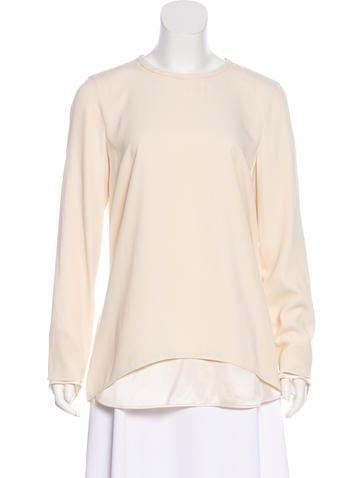 Brunello Cucinelli Long Sleeve Silk Top None