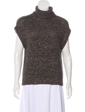 Brunello Cucinelli Sequined Cashmere Top None