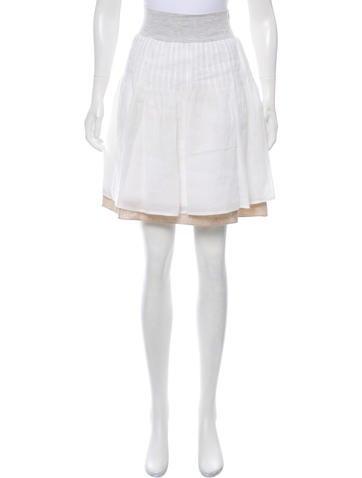 Brunello Cucinelli Rib Knit-Trimmed Knee-Length Skirt None