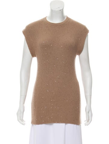 Brunello Cucinelli Embellished Cashmere Knit Top None