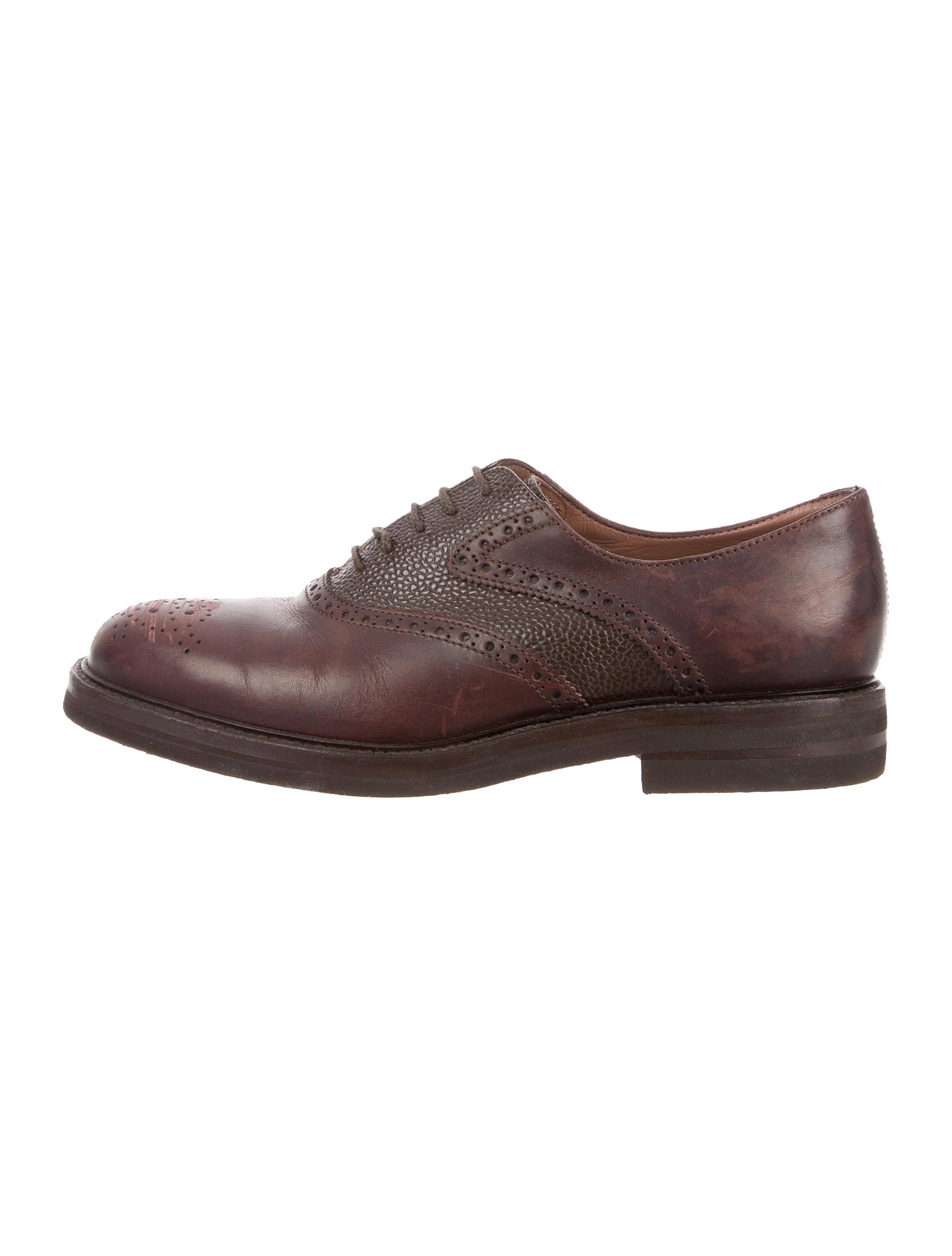 Brunello Cucinelli Leather Round-Toe Oxfords deals sale online IjgdO3MWnf