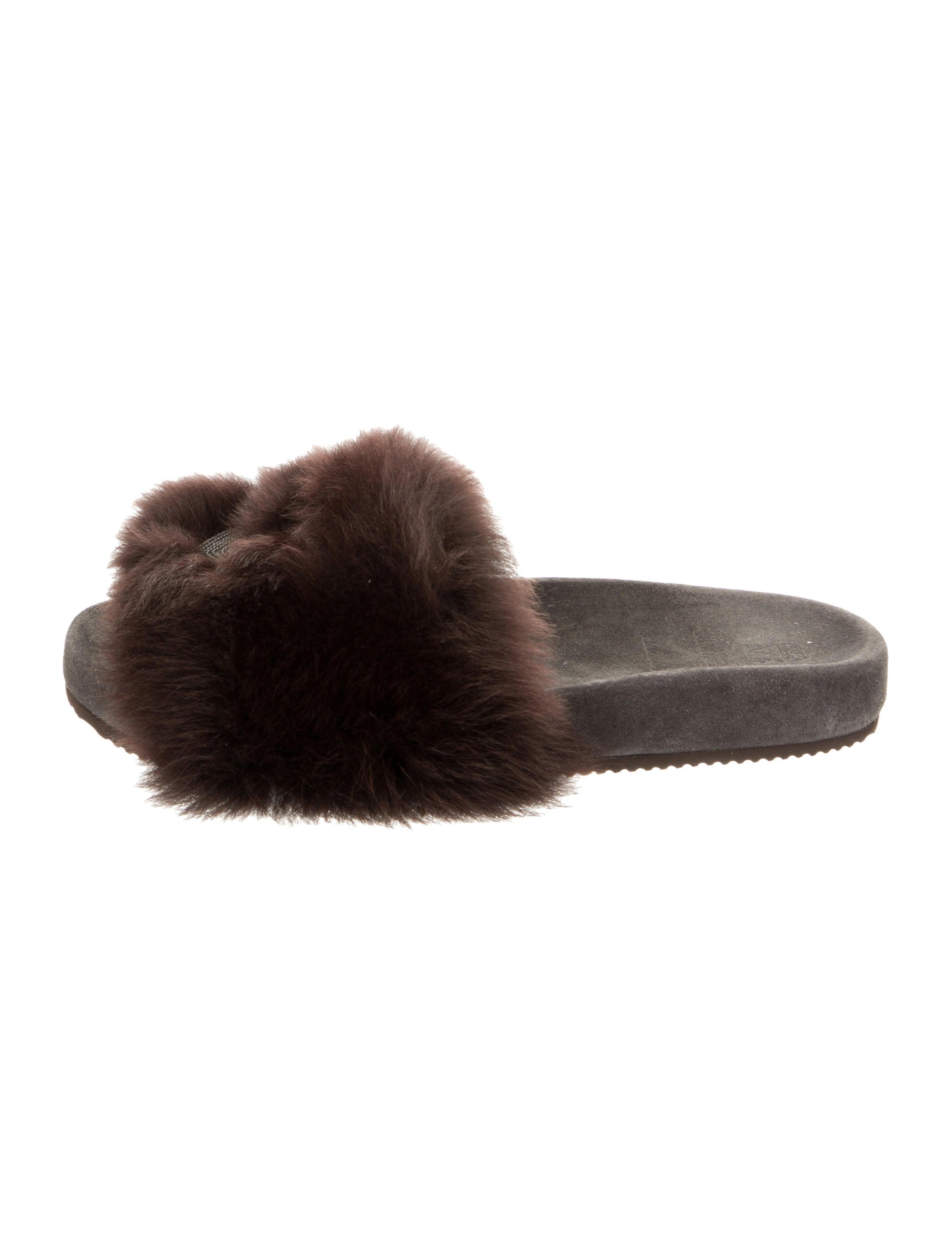Brunello Cucinelli Monili Fur Trimmed Slide Sandals
