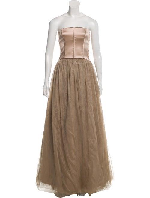 Brunello Cucinelli Feather-Accented Silk Gown Cham