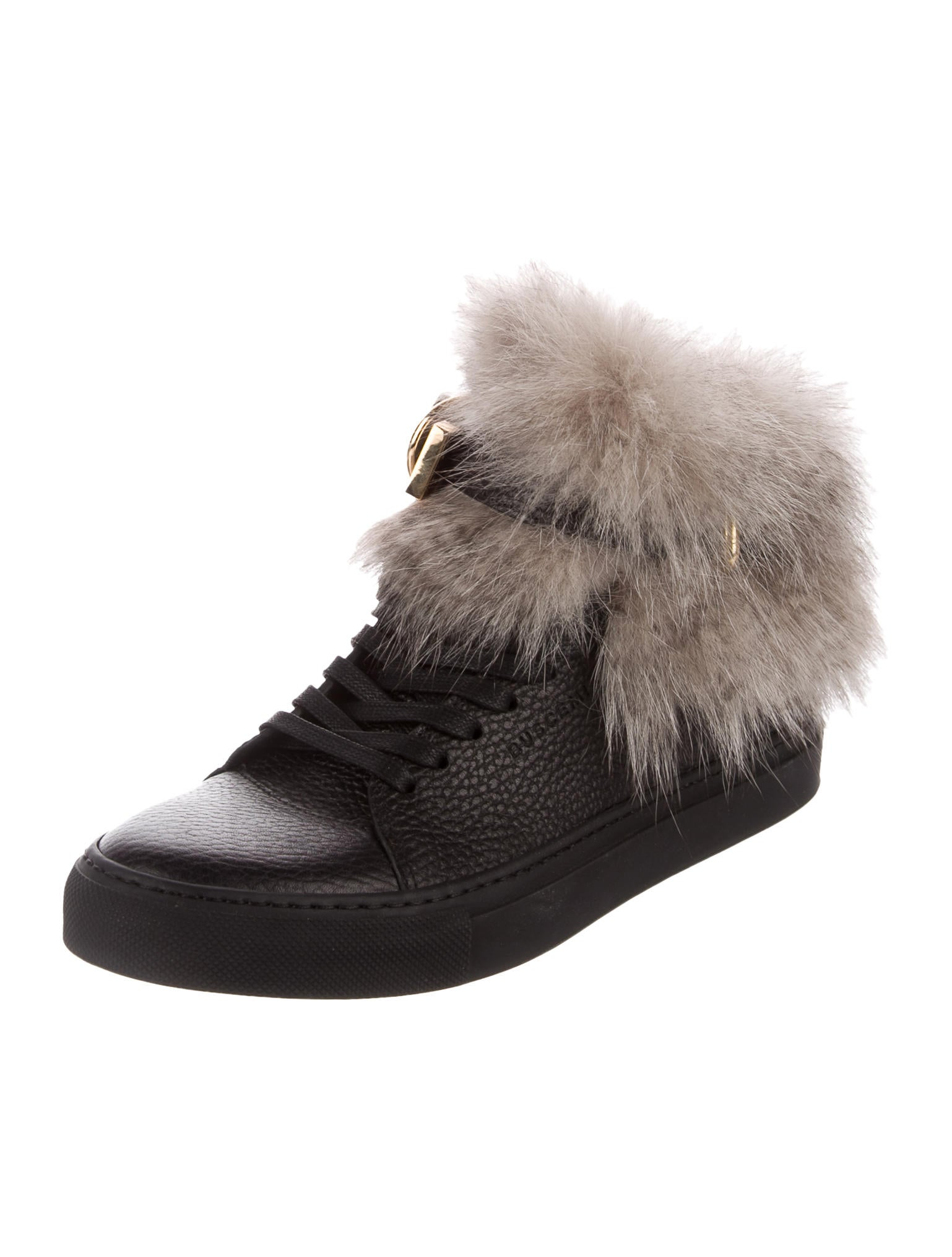 buy cheap latest clearance big discount Buscemi Fur-Trimmed Leather Sneakers cheap fashion Style oPfoO