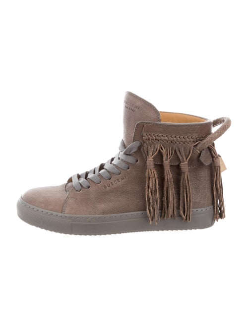 Buscemi Leather Round-Toe Wedge Sneakers Grey