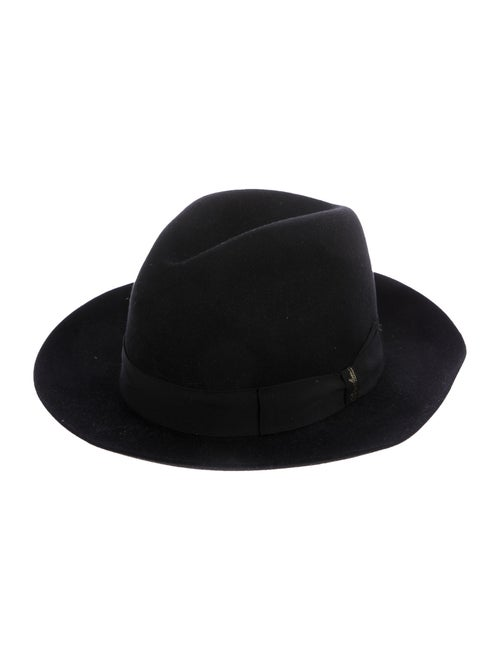 Borsalino Back Felt Fedora Hat black
