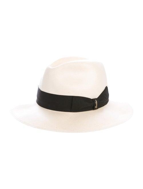 Borsalino Straw Fedora Hat white
