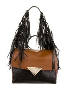 Sara Battaglia Leather Fringe Satchel