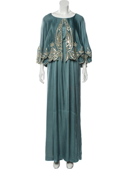 Bthaina Embroidered Cape-Accented Kaftan Blue