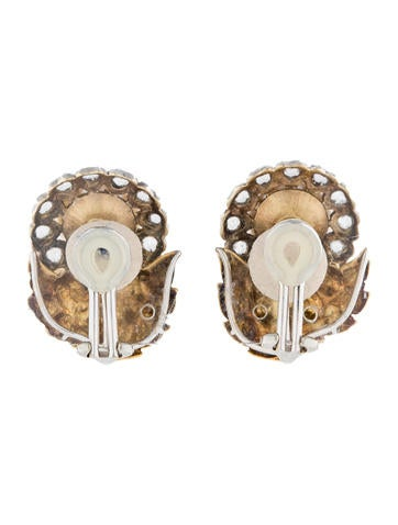 2.00ctw Diamond and Pearl Clip On Earrings