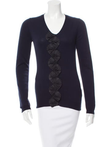 Burberry Prorsum Ruffle-Trimmed V-Neck Sweater None
