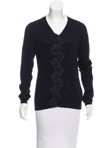 Burberry Prorsum Ruffled V-Neck Sweater None