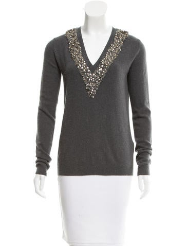 Burberry Prorsum Embellished Wool Sweater None