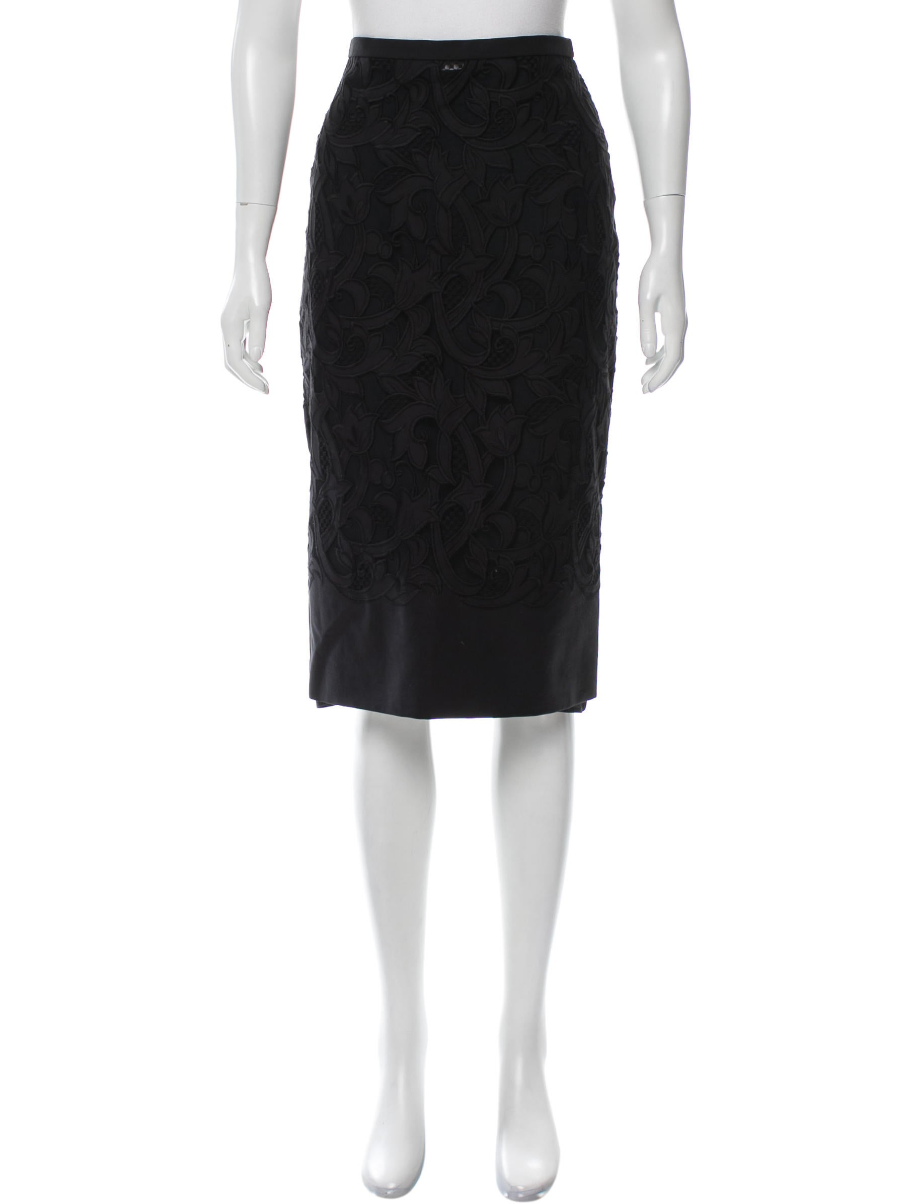 burberry prorsum lace knee length skirt clothing