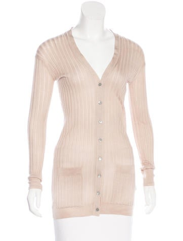 Burberry Prorsum Wool & Silk Longline Cardigan None