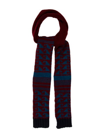 Burberry Prorsum Patterned Rib Knit Scarf None