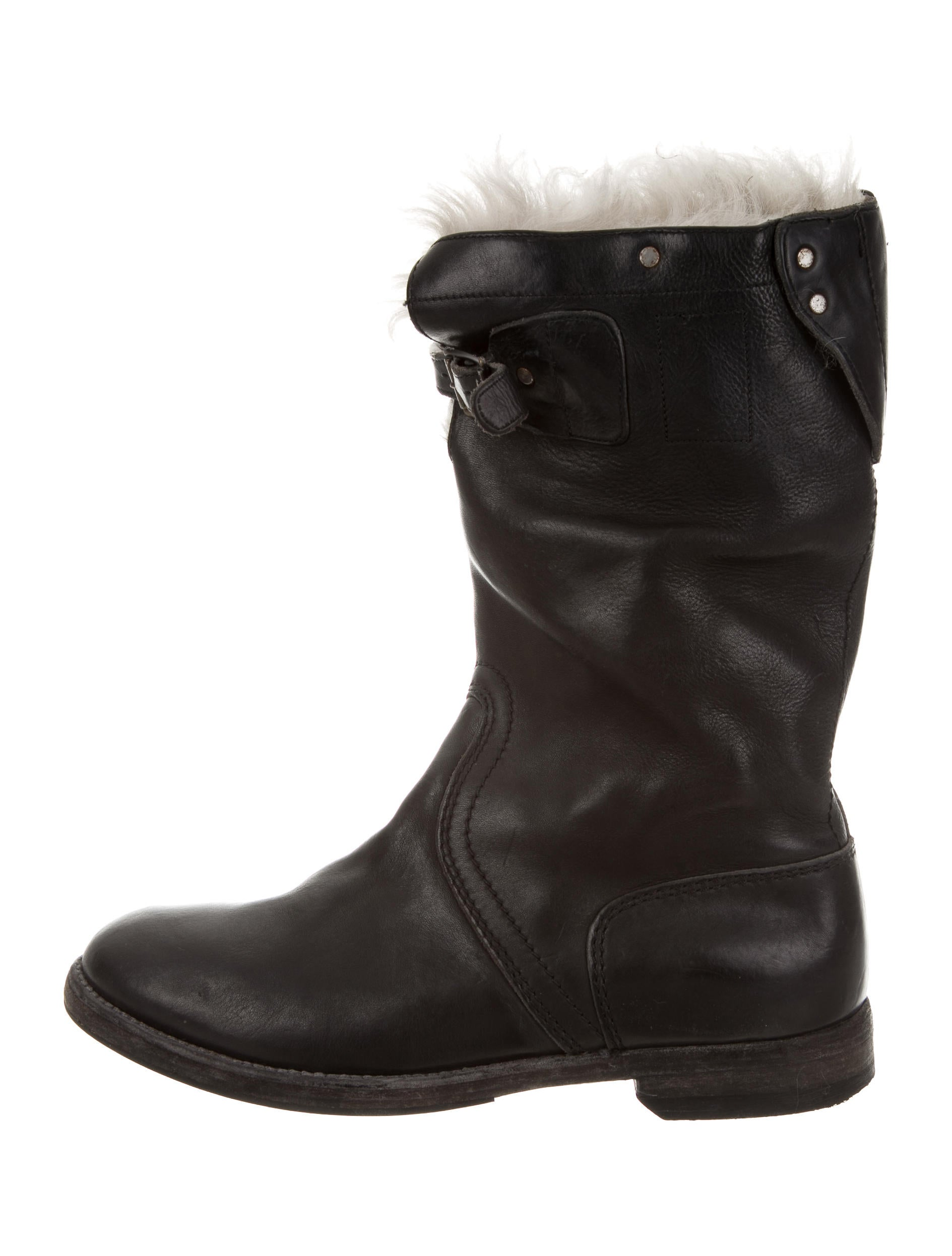 burberry prorsum shearling lined leather boots shoes