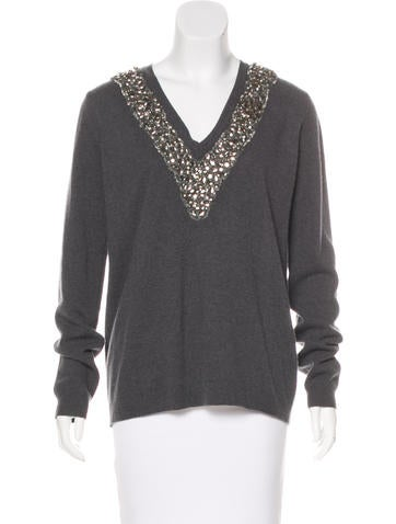Burberry Prorsum Embellished Wool & Cashmere Sweater None