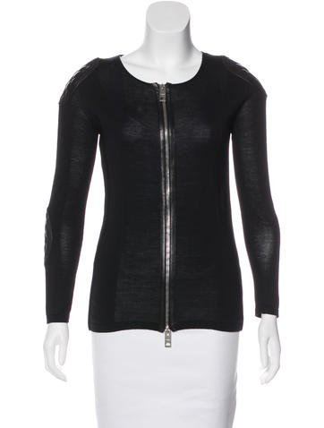 Burberry Prorsum Leather-Trimmed Zip-Up Cardigan None