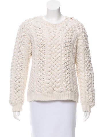 Burberry Prorsum Cable Knit Long Sleeve Sweater None