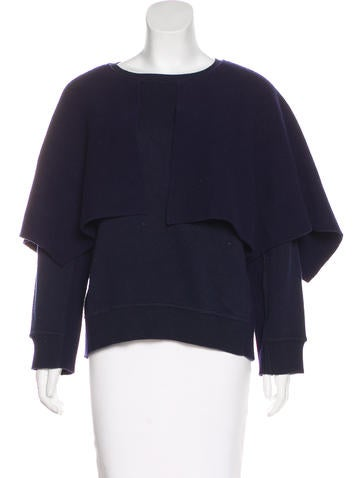 Burberry Prorsum Cape Overlay Knit Sweater None