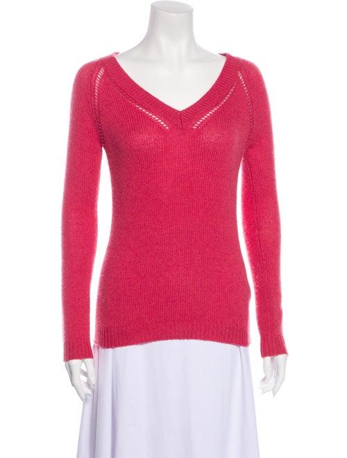 Burberry Prorsum Cashmere V-Neck Sweater Pink