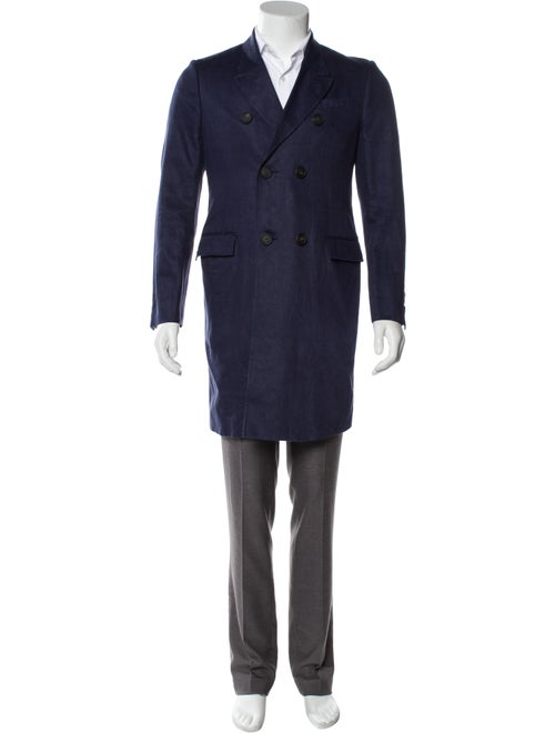 Burberry Prorsum Linen Double-Breasted Overcoat bl