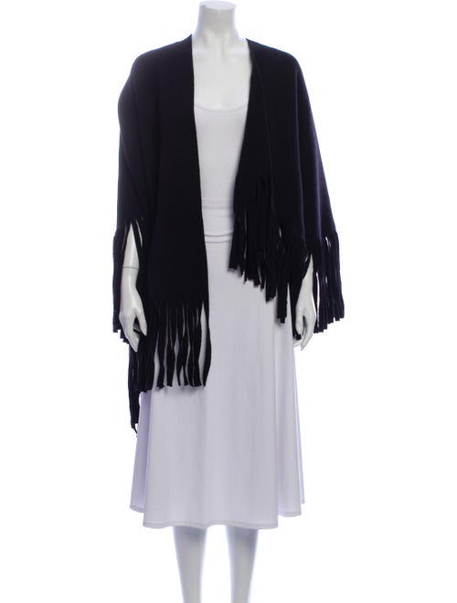Burberry Prorsum Wool Fringe Shawl Black