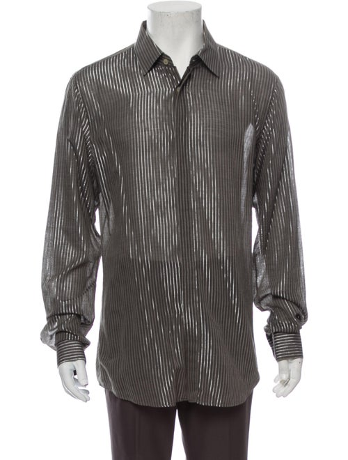 Burberry Prorsum Metallic Striped Striped Shirt Me