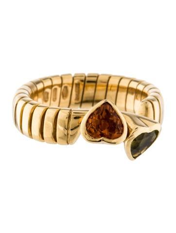 Bvlgari Citrine & Peridot Tubogas Heart Ring