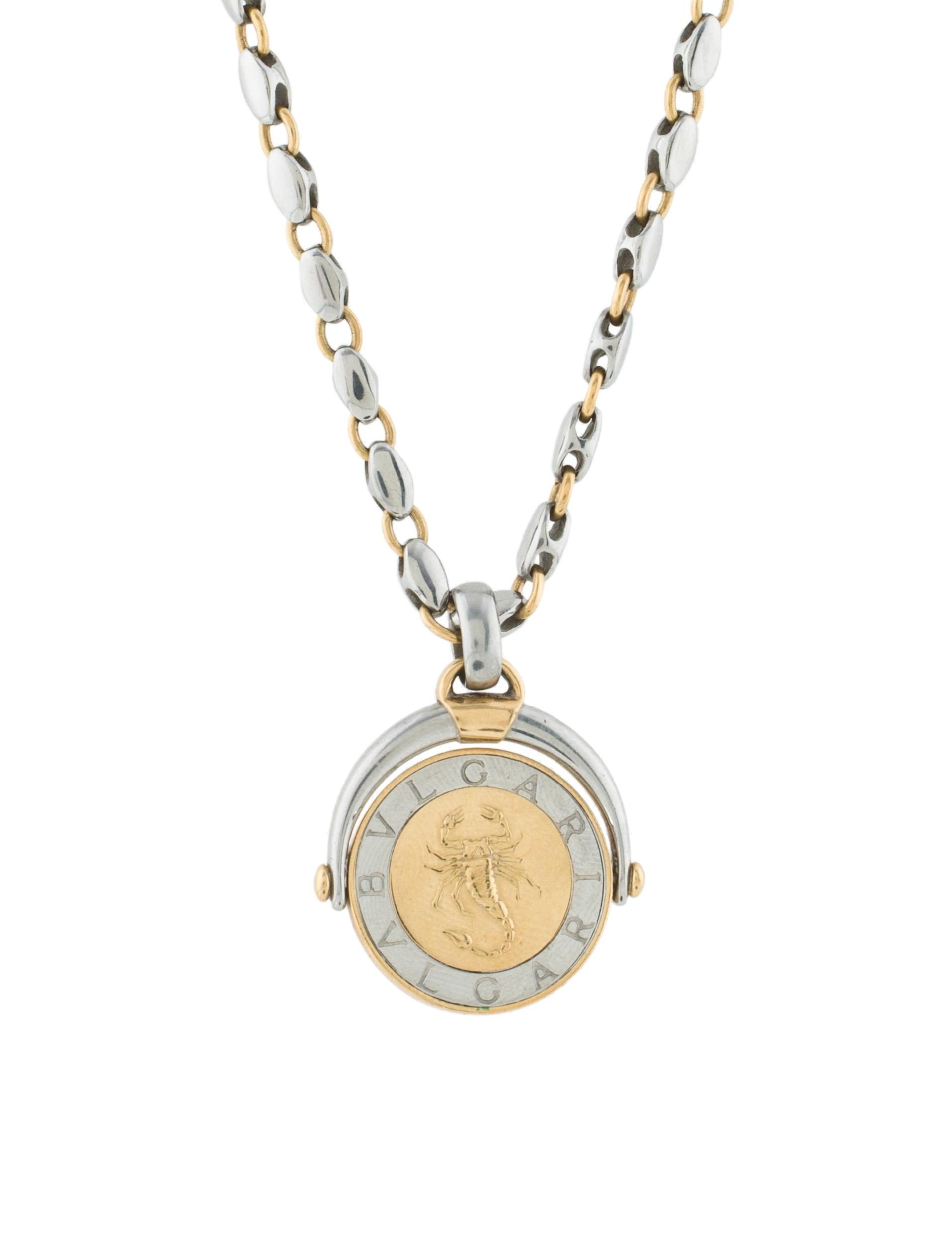 Bvlgari two tone zodiac pendant necklace necklaces bul25456 two tone zodiac pendant necklace mozeypictures Images