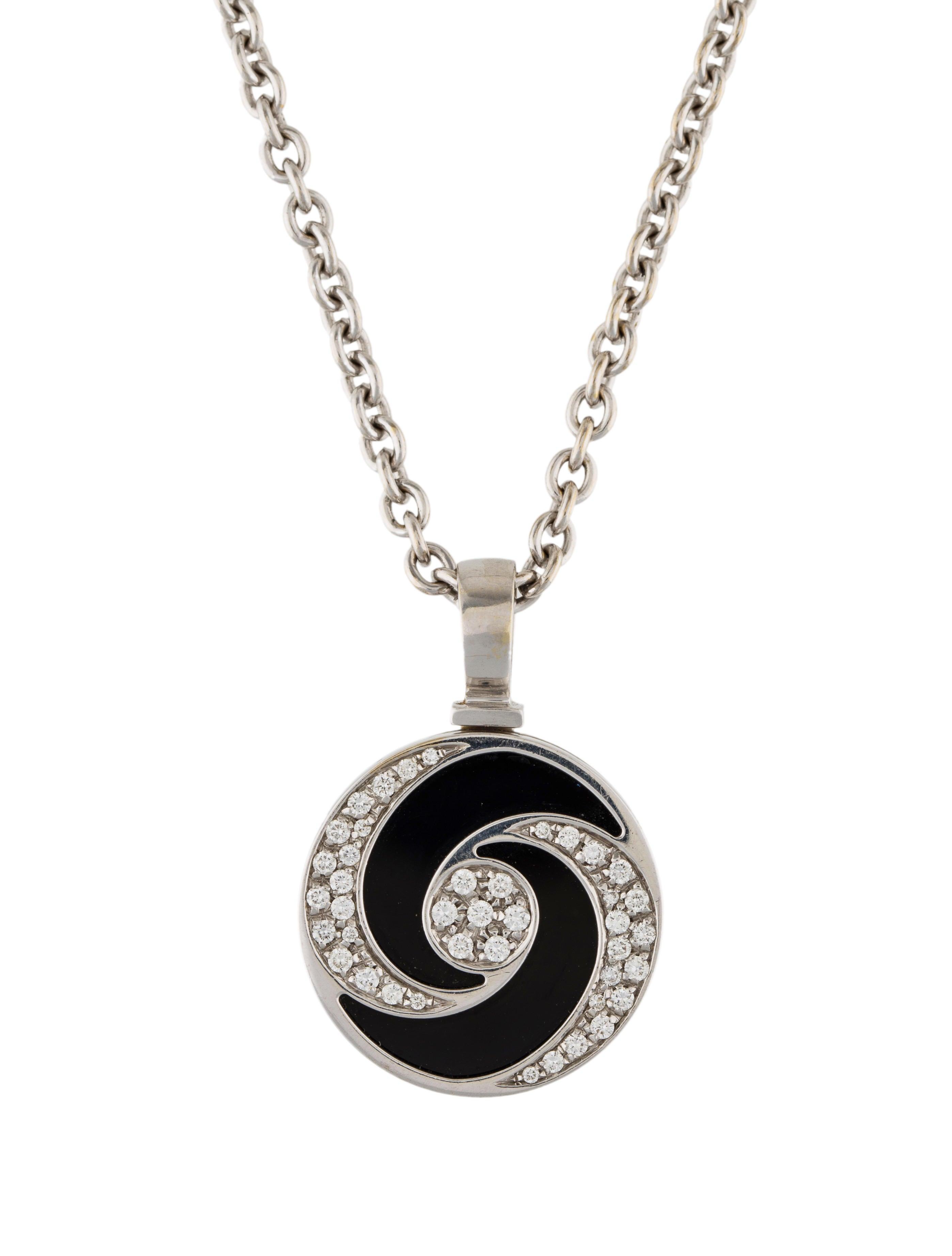 Bvlgari 18k onyx diamond hypnotic pendant necklace necklaces 18k onyx diamond hypnotic pendant necklace mozeypictures Choice Image