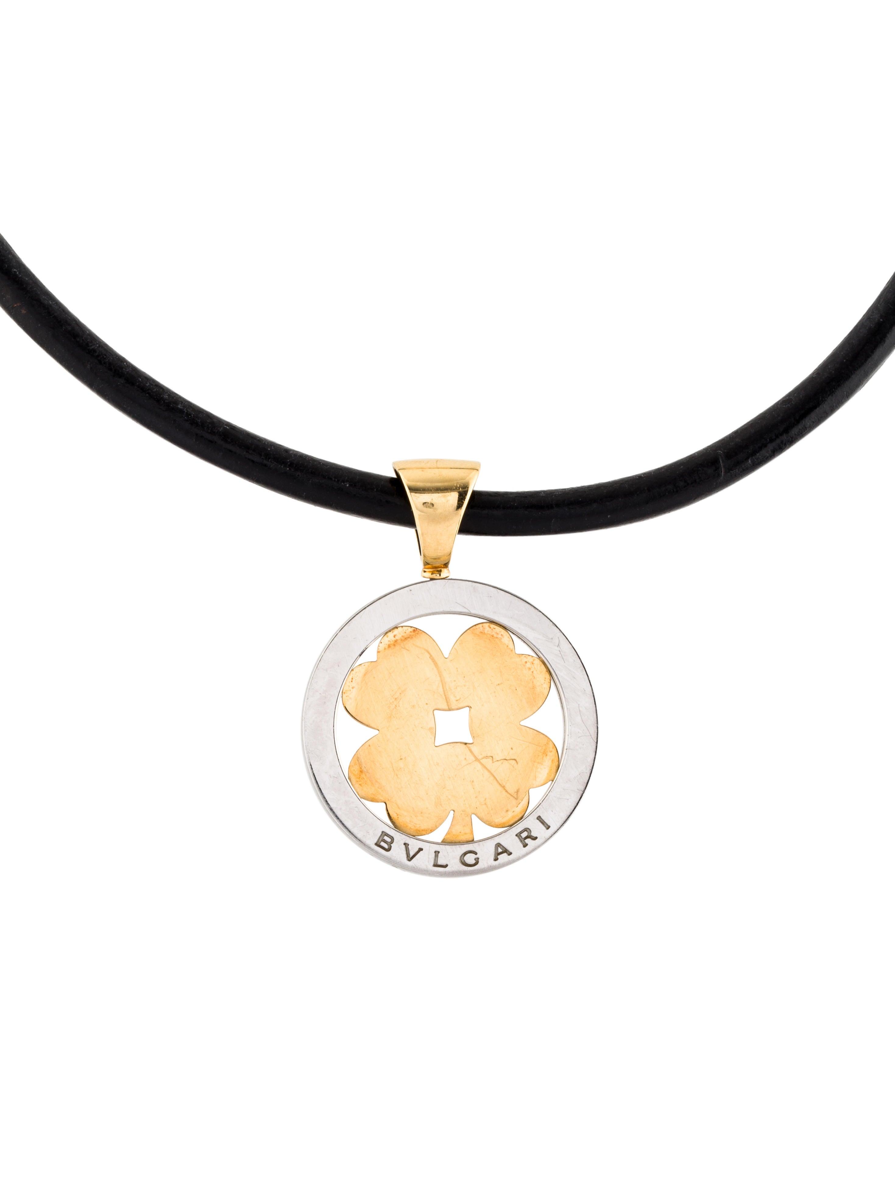 Bvlgari two tone tondo clover pendant necklace necklaces two tone tondo clover pendant necklace aloadofball Image collections