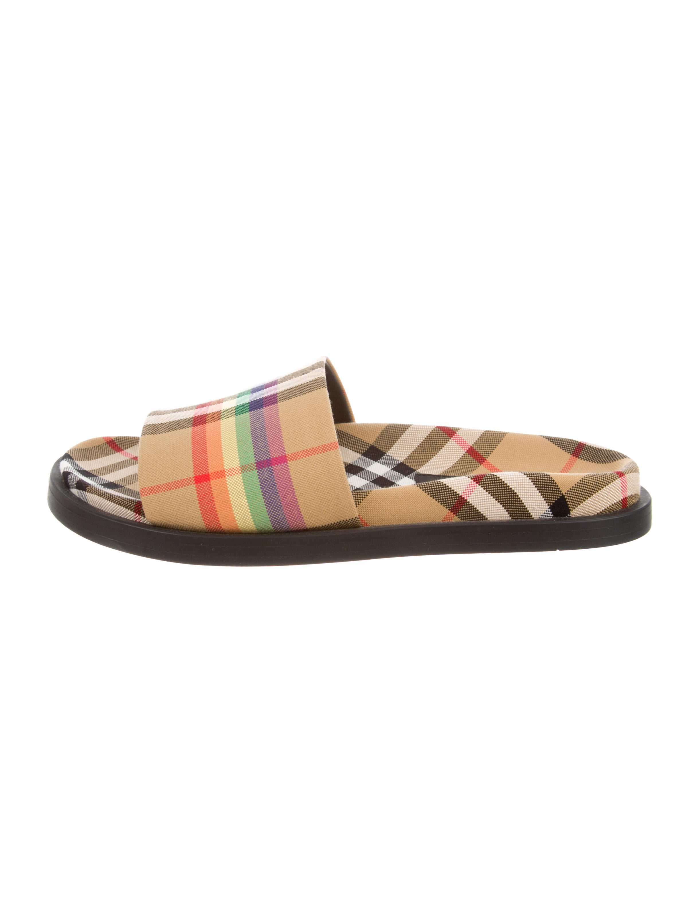 6cdee8e2bde Burberry 2018 Ashmore Rainbow Check Sandals w  Tags - Shoes ...