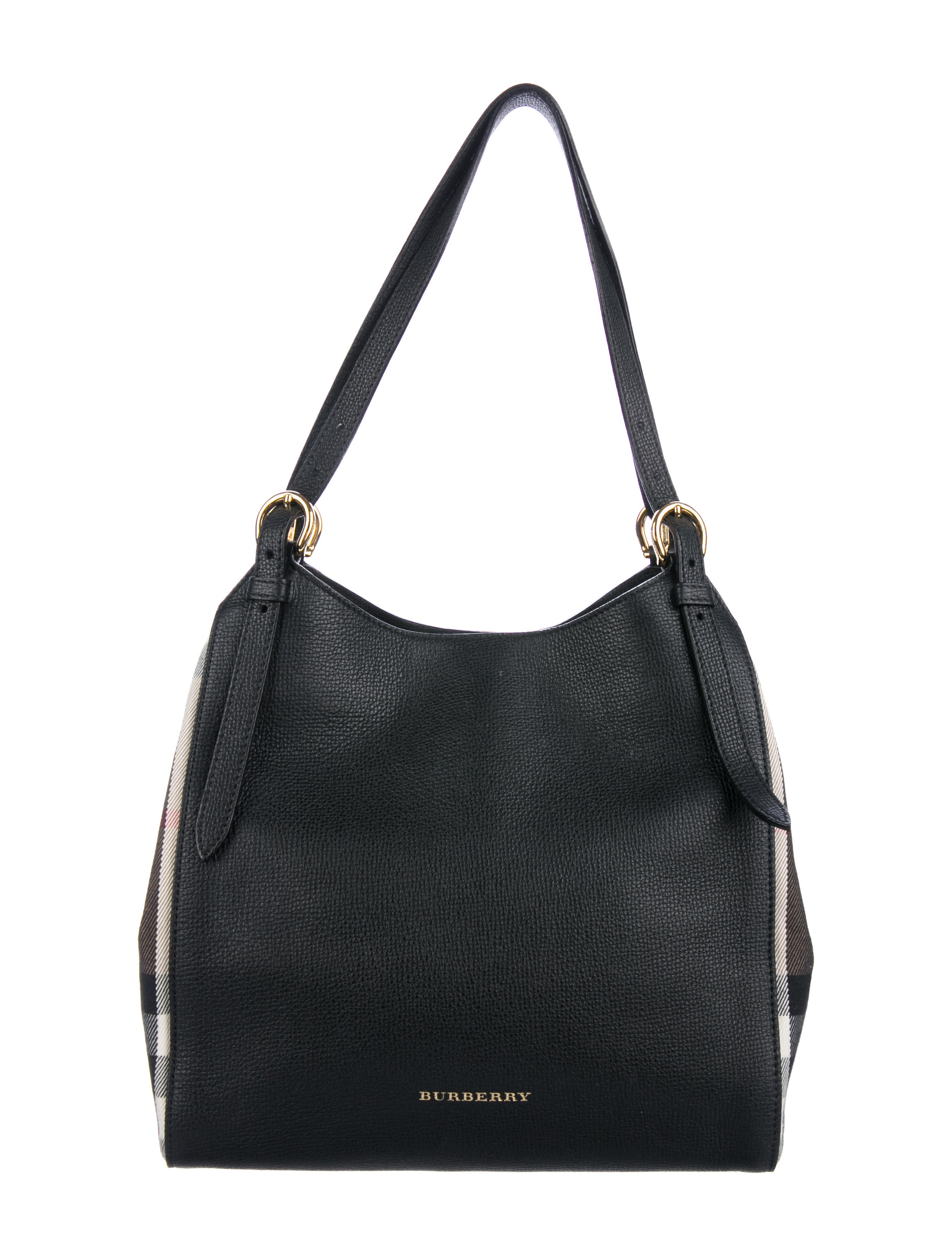 988a4215dd14 Burberry Small Canter House Check   Leather Shoulder Bag - Handbags ...
