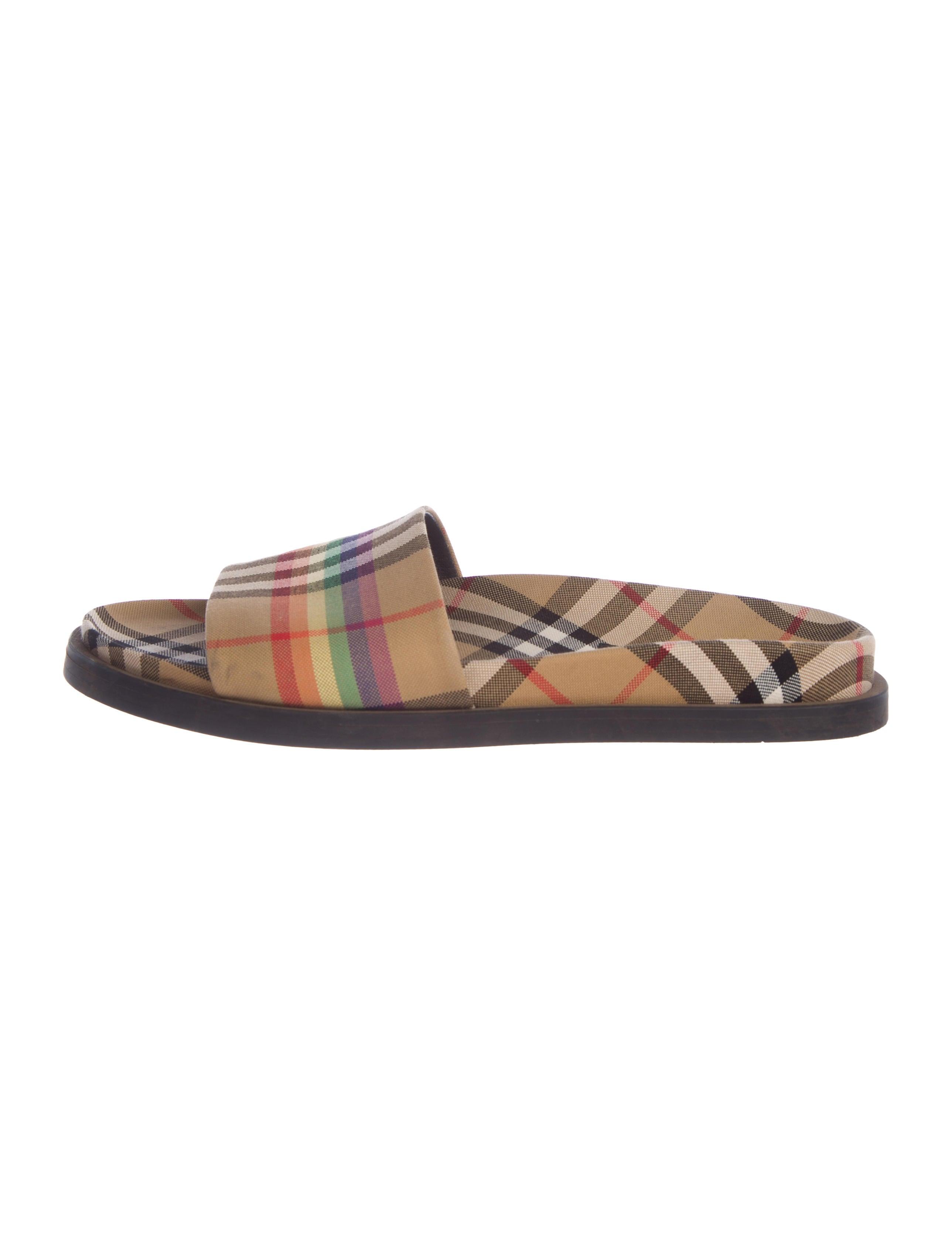 1fafdf54a83 Burberry 2018 Ashmore Rainbow Check Sandals - Shoes - BUR104819 ...