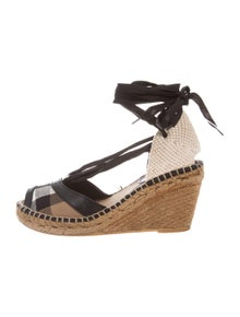 9dd36f63c0ad Burberry. Canvas Wedge Sandals