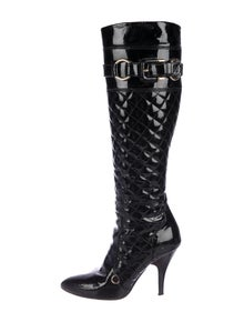 81bff84f3b7 Burberry. Quilted Patent Leather Knee-High Boots
