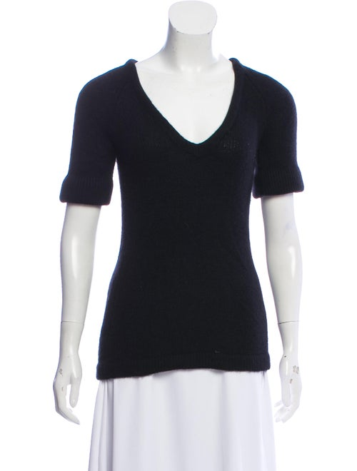 Burberry Cashmere Short Sleeve Sweater Black