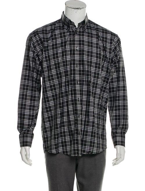 Burberry Madras Plaid Button-Up Shirt black