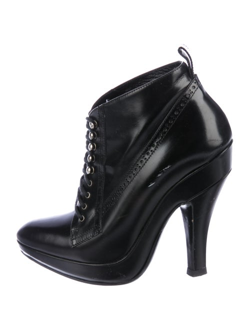 Burberry Brogue Leather Booties Black