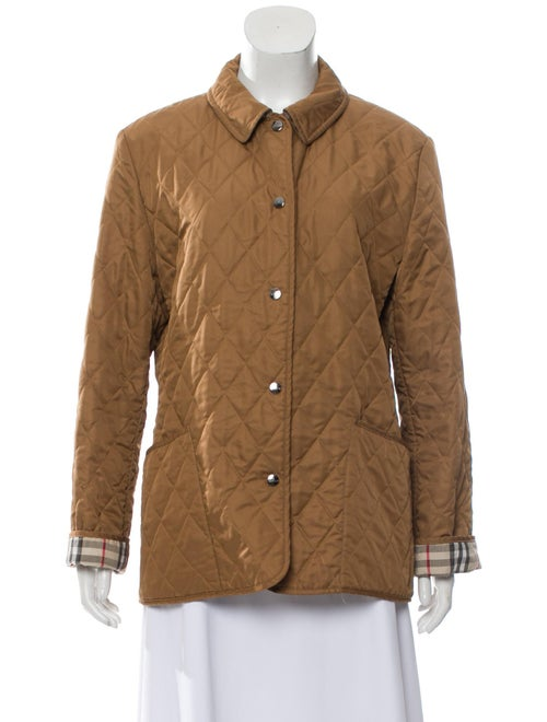 Burberry Quilted Button-Up Jacket Brown