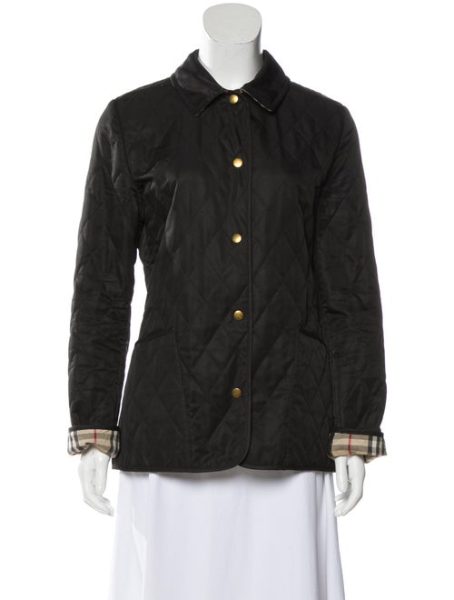 Burberry Quilted Button-Up Jacket Black