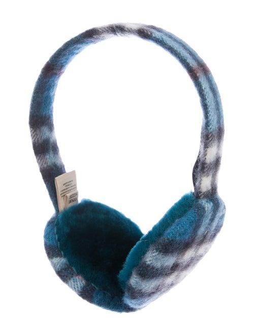 Burberry Nova Check Cashmere Earmuffs Blue